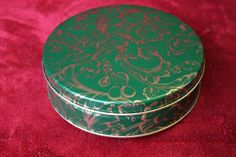 Small Green Tin with Gold Paisley Design