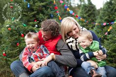 Styled Christmas tree farm shoot. Perfect little family!