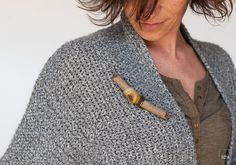 Wooden Jewelry. Driftwood Brooch with Wraped Crochet. Manila light, mustard, curry. Eco friendly jewelry. Crochet Jewelry. Nature inspired
