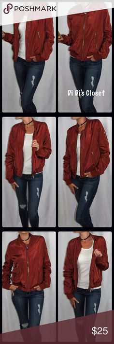 IN HONOR OF MY HP SALE⭐️Rust bomber jacket⭐️ Trendy lightweight bomber jacket. This is this seasons must have. Stylish and sexy. ⭐️100% Polyester  ⭐️Lightweight and very comfortable  ⭐️Zipper details ⭐️Trendy Rust Color ⭐️Fits true to size ⭐️Model is 5'8-120 and wearing a medium 🚫Trades/ PayPal or Mercari *️⃣Price Firm Unless Bundled Jackets & Coats