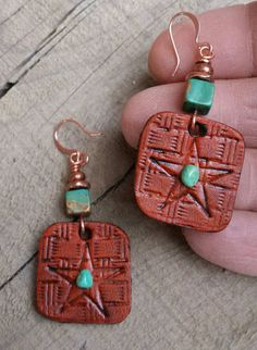 Hand Tooled Leather STAR Earrings Turquoise by HeartofaCowgirl