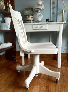 Antique Bankers Chair Painted In Annie Sloan Graphite And