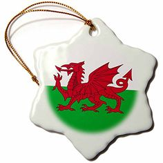 """3dRose LLC orn_158289_1 Porcelain Snowflake Ornament, 3-Inch, """"Flag of Wales-Welsh Red Dragon White and Green-Y Ddraig Goch UK Great Britain"""" >>> Tried it! Love it! Click the image. : Christmas Decorations"""
