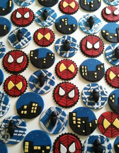 Spider man cupcake toppers by CakesbyAngela on Etsy, $45.00