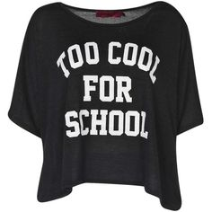 Boohoo Rebecca Too Cool For School Knitted Boxy Tee (20.340 COP) ❤ liked on Polyvore featuring tops, t-shirts, shirts, blusas, polyester t shirts, flat top, polyester shirt, shirts & tops and t shirts