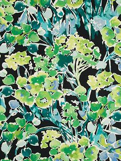 A modern floral upholstery fabric in a digital print design of turquoise, spring green, aqua, periwinkle, light blue and white on a black