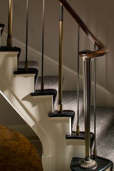 Bronze newel designed by John B. Murray Architect in a Park Avenue Apartment