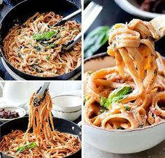 16 oz. fettuccine noodles 2 tablespoons oil from sundried tomatoes in oil jar 1/2 cup sundried tomato halves, drained and finely chopped 4 garlic cloves, minced 1/8-1/4 teaspoon red pepper flakes (or more to taste) 2 tbsp flour 2 cups low sodium chicken broth 1 1/2 cups milk (I use…