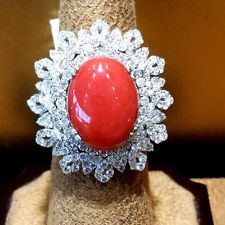 7.74ct. Oval Coral &3.52ct. Diamond ladies ring 18K. white gold.