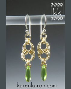 Happy St. Patrick's Day! Celtic Spiral Knot Earrings in gold-fill (weave by Corvus) #chainmaille #chainmail #earrings #jewelry #jewellery #karenkaron