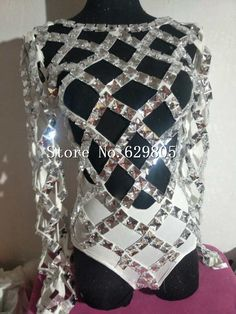 Spalking Crystals Bandage Bodysuits Hollow Costume Bling Stones Women Black White Party Dresses Celebrate Occasion Outfits Wear  #Affiliate