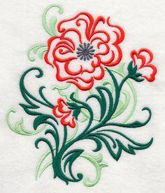 Poppy Filigree design (J7435) from www.Emblibrary.com