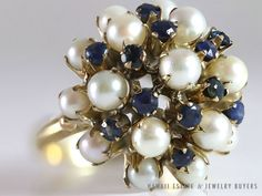 SEE MORE ON www.hawaiijewelrybuyers.com #LADY'S GOLD FILLED BLUE #SAPPHIRE & #PEARL CLUSTER DOME RING (SZ 6.25) #Cluster