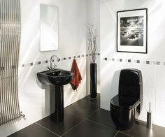 33 dunkle Badezimmer Design Ideen - bad einrichtung schwarzes waschbecken kontrast modern bathroom minimalistic look