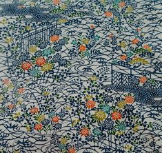 Japanese vintage kimono silk fabric Hand Stencilled Chrysanthemum 7b38170b2