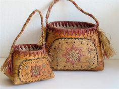 Vintage Baskets Old Birch Bark Handmade Pair by elansolete on Etsy