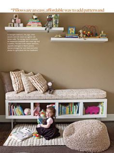 Cute for Addy's big girl room! Book and toy storage and a place to read together. Ikea's Lack storage bench DIY.