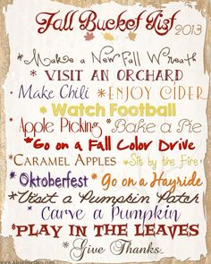 fall bucket list 2013 via @Gina Gab Solórzano Gab Solórzano @ Kleinworth & Co.