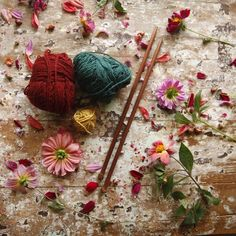 """""""Madder, indigo and pomegranates used to create colours in wool. By Timber and Twine .co Handcrafted knitting needles from reclaimed timber."""""""