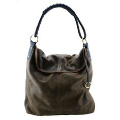 Genuine leather hobo style bag from luxe label Henry Lou. Hand braided genuine black leather rope handle with brass rings. Inside zip pocket and hidden magnet clasp. Made in California