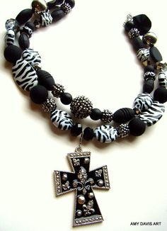 "The ""I have nothing to wear"" Necklace - Chunky Cross, Zebra Beads and Rhinestones   Use Promo Code ""STCFreeShip"" for FREE Shipping!"