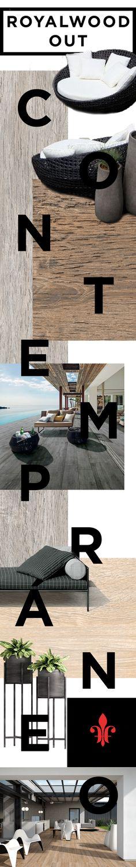 El pocelánico Royalwood Out es la madera que inspira los acabados naturales de terrazas, patios y decks, agregando calidez a espacios contemporáneos.
