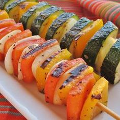 These Grilled Lemon-Pepper Zucchini skewers will make for a #healthy addition to your #memorialday spread!