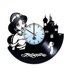 Princess Jasmine Handmade Vinyl Record Wall Clock Fan Gift - VINYL CLOCKS