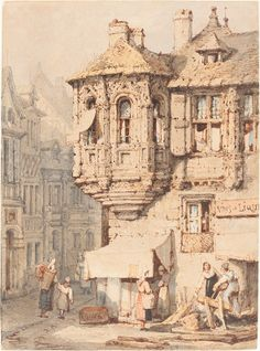 Eye Candy: Samuel Prout street scene. Lines and Colors: http://linesandcolors.com/2014/08/27/eye-candy-for-today-samuel-prout-street-scene/