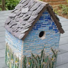 "Mosaic Bird House with slate roof. Glass mosaic tile, grouted. One side of roof not fixed to allow for cleaning, drainage hole, for wall mounting, size height 10"" x width 7"" x depth 6"". Visit folksy.com"