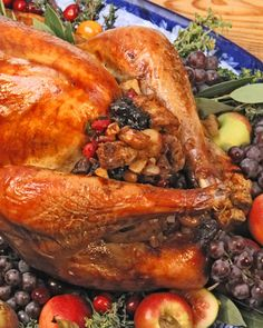Turkey with Fruit and Nut Stuffing for #thanksgiving - Martha Stewart Recipes
