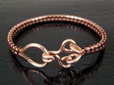 Copper Bracelet with Handmade Clasp Wire Wrapped by BonzerBeads, $29.00