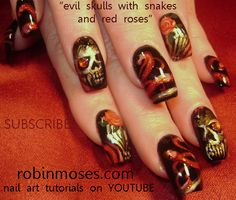 Nail-art by Robin Moses  Best Ever Skull & Halloween Tutorial