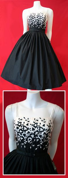 black and white dress~ I love the graduation from black to white in the lace! The same idea could be used to turn a strapless gown into one with a contrast coloured top with a boat neckline ; 50s Dresses, Pretty Dresses, Vintage Dresses, Vintage Outfits, Rockabilly Dresses, Vintage Clothing, Vintage Fashion 1950s, Vintage Couture, Dress Outfits