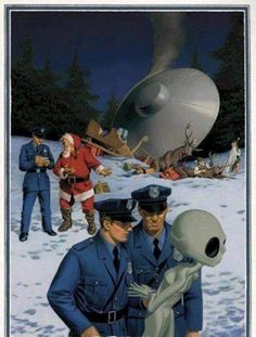 """danismm: """"latest ufo sightings: best wishes """" .when Santa gets t-boned by a drunk alien. Nobody believes the police report which, lets be honest, is their own fault at this point. Christmas Ad, Christmas Humor, Christmas Presents, Science Fiction, Illustrator, Psy Art, Aliens And Ufos, Funny Bunnies, Retro Futurism"""