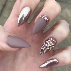 Nude chrome diamante stiletto nails