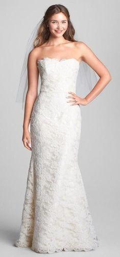 Caroline DeVillo 'Eliza' strapless lace wedding dress
