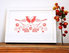 https://flic.kr/p/aBuuMB | Rose Hip Robins | Two Robins perched on a branch of Rose hips, printed in a beautiful Berry Red.