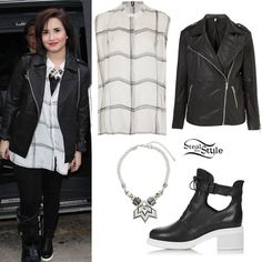 It's no secret that Demi loves Topshop, so today she attended the Topshop Unique AW13 fashion show as part of London Fashion Week in an all Topshop outfit. She wore a Silk Check Shirt by Unique ($190.00), an Oversized Leather Biker Jacket ($400.00), a pair of AFTERSHOCK Cutout Lace-Up Boots ($170.00), and a Rope 3D Section Collar ($40.00). You can get similar jackets for a fraction of the price at Miss Selfridge ($74.00) and ASOS ($52.62).