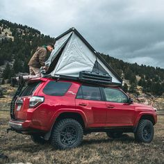 Would you like to go camping? If you would, you may be interested in turning your next camping adventure into a camping vacation. Camping vacations are fun and exciting, whether you choose to go . Top Tents, Roof Top Tent, Truck Camping, Go Camping, Rooftop Tent Camping, Camping Hacks, Toyota 4runner Trd, Toyota Tacoma, Offroader