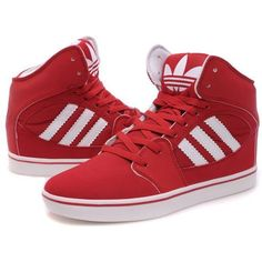 Adidas High Tops Red White found on Polyvore featuring polyvore, fashion, shoes…
