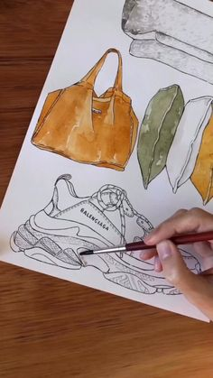 Good objects - Watercolor painting Balenciaga Sneakers Good objects - How to paint sneakers video with watercolors Fashion Design Sketchbook, Fashion Design Portfolio, Fashion Design Drawings, Fashion Sketches, Fashion Drawing Tutorial, Fashion Illustration Tutorial, Watercolor Fashion, Watercolor Painting, Watercolor Books