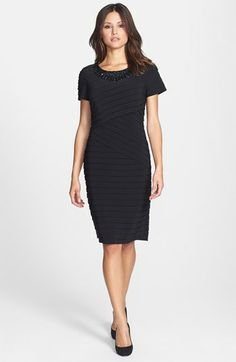 Adrianna Papell Embellished Neck Banded Sheath Dress (Regular & Petite) available at #Nordstrom