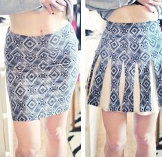 """(Diy) Skirt Cherlidershi 5 Minutes. Take A Skirt From A Pencil Type Fitted Skirt To A """"Pleated"""" Without Any Sewing. / Skirts and rework / SECOND STREET"""