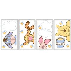 Decorate your little hunny's nursery with these adorable Disney Baby Peeking Pooh premier wall decals featuring Winnie the Pooh and his favorite pot of hunny, Tigger, Eeyore and Piglet.
