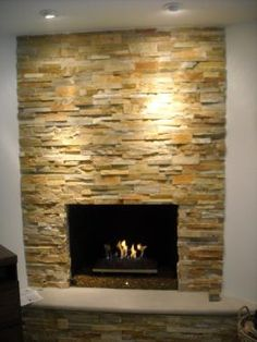 Gas Fireplace with Taj Mahal Ledgestone