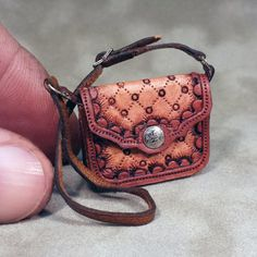 Hand-tooled Diamond Dot Design Dollhouse Miniature Leather Bag Z