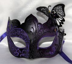 Elegant mask masquerade mask butterfly purple black venetian mask. Would be cool for reception