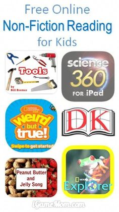 9 Free online non fiction reading books and resources for kids from preschool to high school. In today's world, it is important for kids to be a self-learner, reading non-fiction is a crucial building block of skills for self-learners. Reading Resources, Reading Strategies, Reading Skills, Teaching Reading, Reading Books, Children's Books, Reading Projects, Kid Books, Guided Reading