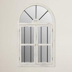 Faux Window Wood Wall Mirror